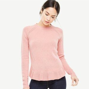 Ann Taylor Cashmere Wool Ruffle Sweater Pullover